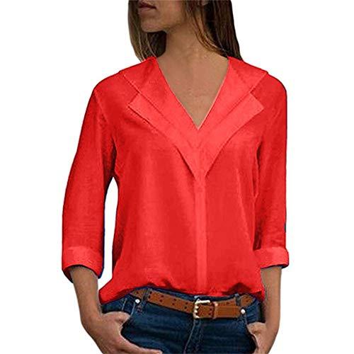 TOPSELD T Shirt Damen, Mode FüR Frauen Chiffon Feste T-Shirts BüRo Plain Rollten ÄRmel Bluse Tops -