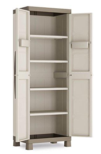 CEP 9708 Armoire haute 2 portes 65 x 45 x 182 cm Gris Clair/Taupe
