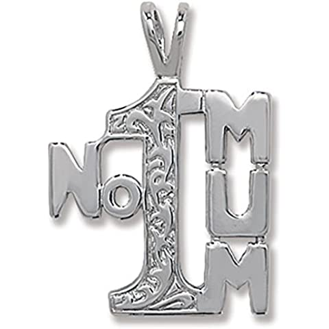 In argento Sterling 925a forma di numero 1mamma Ciondolo su una collana serpente
