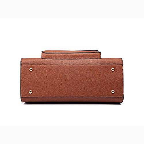 Miss LuLu Handtasche Damen Aktentasche Bürotasche Tote Bag PU-Leder Elegant Groß (LT6635-Schwarz) LT6635-Braun
