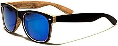 Gafas de sol unisex UV400, montura de madera y lentes de espejo, bolsa incluida