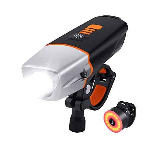 Movaty LED Bicicletta Luce,luci per Bicicletta,Luce Bici Anteriore, USB Ricaricabile Bicicletta Illuminazione 2600mAh Batteria al Litio, 500lm fari Anteriori luci,Impermeabile (Nero3)