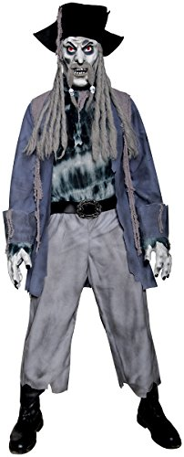 Mens Creepy Captain Ghost Ship Pirate Halloween Haunted Ghostly Spooky Zombie Fancy Dress Costume M-L - Ghost Ship Kostüm