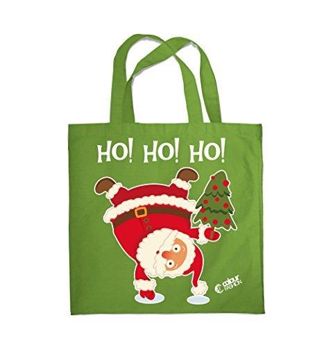 Colour Fashion Weihnachten Ho!Ho!Ho! Weihnachtsmann Einkauf Fitness Strand Tragetasche 0079 Erbsengrün