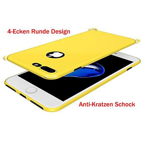 Iphone 7 Ultra-Dünn 0.1mm Bunt Hülle + Schwarz Vollständige Abdeckung Schutzfolie,SUNAVY 360-Grad Weich TPU Anti-stoß Anti-Kratzer Ultra-Leichte Schutzhülle für Apple7,4.7zoll,Schwarz Gelb