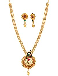 Apara Peacock Gold Plated Necklace Set With Earring For Women