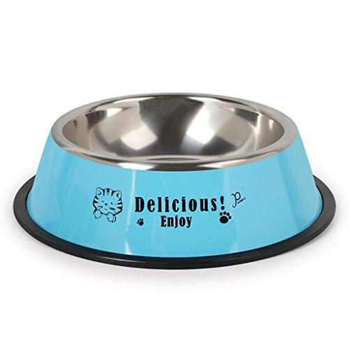 YUESFZWXQ Haustier Fressnapf,Hundenapf,Katzennapf-Edelstahl, rutschfest, Kippsicher (Color : Blue, Size : 16 * 6cm) -