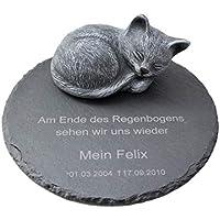 Tiefes Kunsthandwerk Gedenkstein aus Schiefer mit Katze für Dein Haustier, mit Wunschtext als Gravur, wunderschöne Erinnerung für Dein Zuhause oder als Grabschmuck, Farbe Schiefergrau