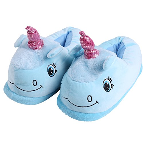 HENGSONG Couleur Peluche Chaussons Licorne Doux Coton Pantoufles Pour Femmes,EU35-40 (Bleu)