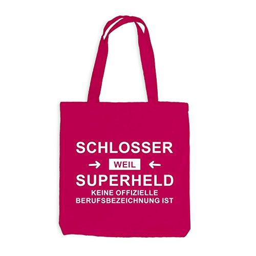 Jutebeutel - Schlosser Superheld - Hero Beruf Pink