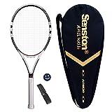 Senston Adulto Full Carbon Racchetta da Tennis, in Fibra di Carbonio Racchetta da Tennis, Inclusa Borsa da Tennis, overgrip da 1 Pezzo e 1 Ammortizzatore (Colore Casuale)