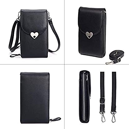 Bandolera para Mujer,Bolso de Hombro Cuero pequeño Bolso De Mano Crossbody Bag con Correa para el Hombro Cartera Niñas para Casual Moda Bolso de Viaje Teléfono móvil iPhone Samsung Huawei