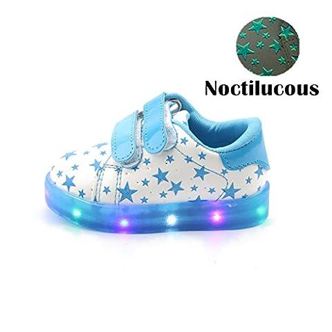 Chaussures Enfant, Chickwin LED Chaussures Étoiles Lumineuse Bébé Enfant Unisexe Confortable Sneakers Clignotant LED Chaussures (24 / Mesure à l'intérieur (cm) 14.7, Bleu)