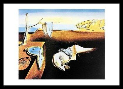 or Dali The Persistence of Memory Poster Kunstdruck Bild im Alu Rahmen schwarz 76x106cm ()