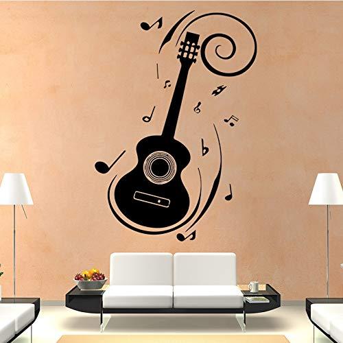 Prägnanten Stil Wandaufkleber Mode Kunst Gitarre Wandaufkleber Wohnkultur Wohnzimmer Abnehmbare Selbstklebende Wasserdichte Tapete-82x58 cm