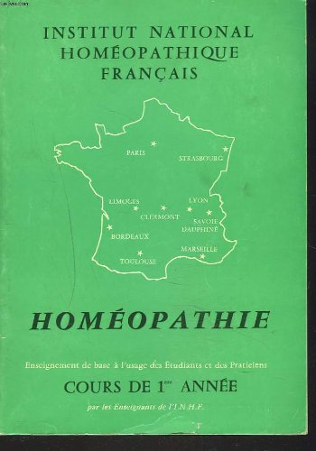 HOMEOPATHIE. COURS DE 1re ANNEE.