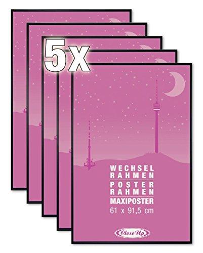 Close Up Posterrahmen 5er Set, Bilderrahmen 61 X 91,5cm, Schwarz f. Großformatige Poster - Scheibe aus unzerbrechlichem PVC