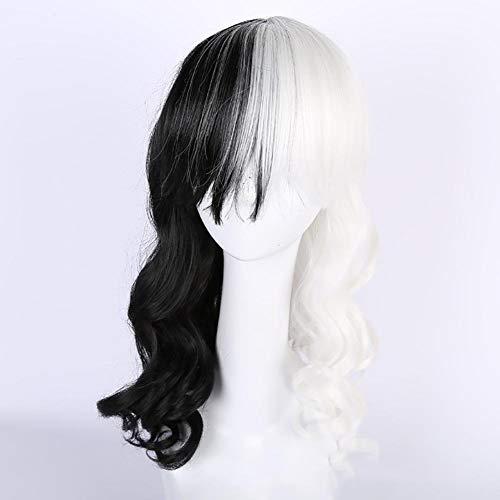 FMEZY 2 Töne synthetische Perücke Ombre Lange Haare schwarz weiße lockige Perücke hitzebeständige Halloween Cosplay Kostüm - Twotone Blau Kostüm Perücke