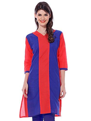 ILLAHI Women's Red 3/4 Sleeve Cotton Kurti