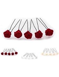 5 horquillas con rosas - accesorios para el cabello - para cabello profundo - negro - Rojo Burdeos
