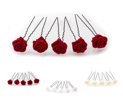 5 épingles à cheveux ornées de roses - accessoire pour coiffure avec du volume/de mariée - Épingle à cheveux noire - rouge bordeaux