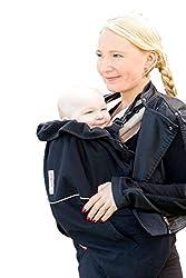 manduca by MaM Deluxe Cover Flex (Wintercover) > Black < Extra warmes dreilagiges Tragecover, Innovatives Gurtsystem, Abnehmbare Baby-Mütze (Pixie Elephant Hood), OneSize, uni schwarz