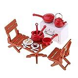 FLAMEER 1/12 Puppenhaus Miniatur Picknick Set Tisch + Stühle + Kochgeschirr + Essen Dekoration, aus Kunststoff