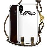 DeinDesign Apple iPhone Xr Carry Case Hülle zum Umhängen Handyhülle mit Kette Schnurrbart Moustache Mustache