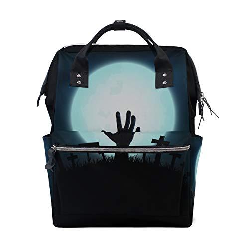 (Zombie erschrockene Hände in Grab Nacht große Kapazität Windel Taschen Mummy Rucksack Multi Funktionen Wickeltasche Tasche Tote Handtasche für Kinder Baby Care Travel Daily Frauen)