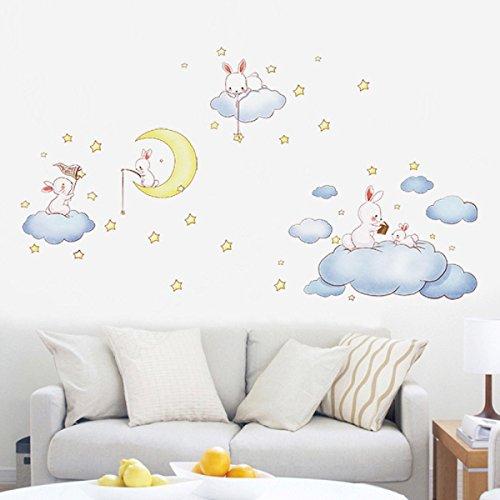 Nubes blancas de dibujos animados Conejo Pegatinas de pared para habitaciones de...