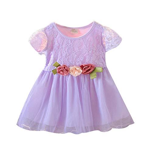 iHAZA Kinder Plissee Lace Trim Flower Kurzarm Kleid Prinzessin Kleid -