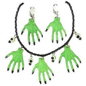 WIDMANN vd-wdm05731collar y pendientes manos Bruja, verde, talla única