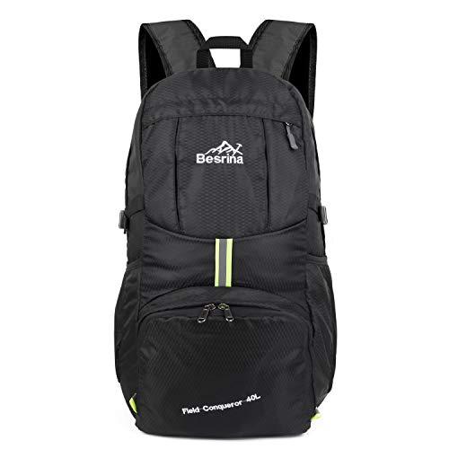 40L Ultraleicht Faltbare Rucksack, Wasserdichter Wanderrucksäcke Multipurpose Reiserucksack Daypack für Wandern Biken Trekking Klettern Bergsteiger Camping Schule Freizeit(Schwarz)