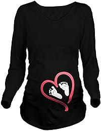 Q.KIM Camiseta Divertido Estampada de Manga Larga Premamá para Mujer Embarazo Lactancia T-Shirt