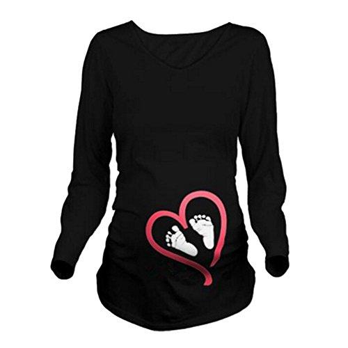 Q.KIM Witzige Umstandsmode Shirt langarm lustiges Umstands Shirt wächst mit dem Bauch Stretch Tshirt (XXL, Fuß,Schwarz)