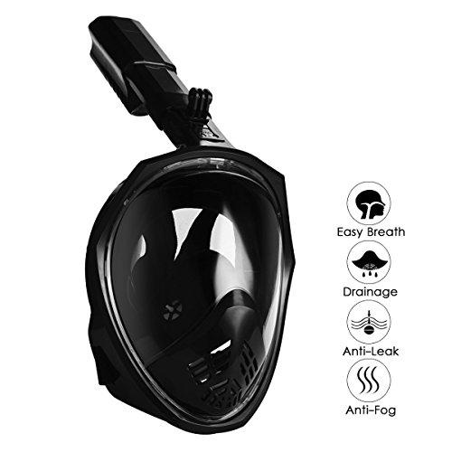 Tauchmaske Vollmaske Schnorchelmaske Vollgesichtsmaske mit 180-Grad-Sicht Anti Beschlagen und Anti Leck Design schnorchelmaske für Erwachsene und Kinder (Schwarz-Verbesserte Version, L/XL)
