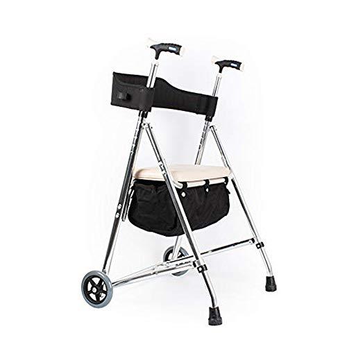 HYRL Outdoor Rollator Shopping Walker, Verstellbare Faltung Mit Ablagekorb Und Soft Seat Für Ältere Menschen