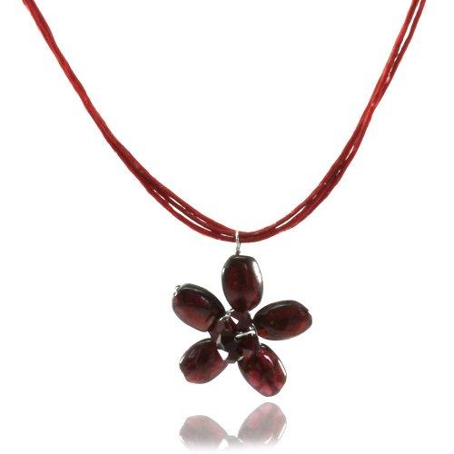 Mgd - cristallo swarovski rosso girocollo collane con granato ciondolo fiore - collana filo di cera - filo collane - collana della pietra preziosa - collane donna - ja-0131n