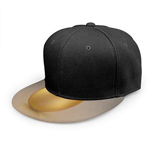Wfispiy Gorra Plana Huevo de Oro en el Fondo con Estampado Floral Gorra de béisbol Ajustable Sombrero de papá de bajo Perfil