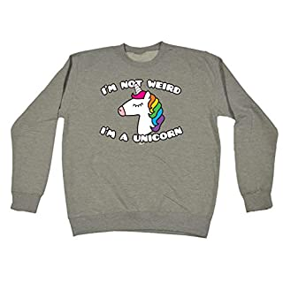 123t Funny Sweatshirt - Im Not Weird A Unicorn Sweater Jumper Warm Jumpers Ancon Mythical Horse Pony Riding Sweatshirts for Men Womens Quotes Adults Slogan Fashion Mum Dad Mummy Da