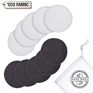 Reusable Bamboo Make up Remover Pads   Perfect for Facial, Eye, Nails, Acne & Even Baby Care   Washable Organic Pads with Laundry Bag   10 Pads/Pack   Safe For Sensitive Skin by ecodrop   Eco-Friendly/Zero Waste/Plastic Free