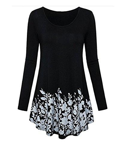 Winfon Aswinfon Tunique Femme Longue Manche Longue Chic Grande Taille Fluide Imprimé Floral Top Blouse Tee Shirt Noir Feuilles