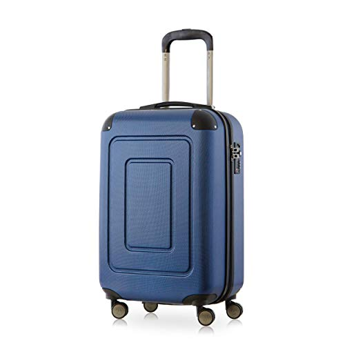 Happy Trolley - Lugano Handgepäck Kabinentrolley Bordgepäck Hartschalen-Koffer Trolley Reisekoffer, sehr leicht, TSA, 55 cm, 40L, Dunkelblau