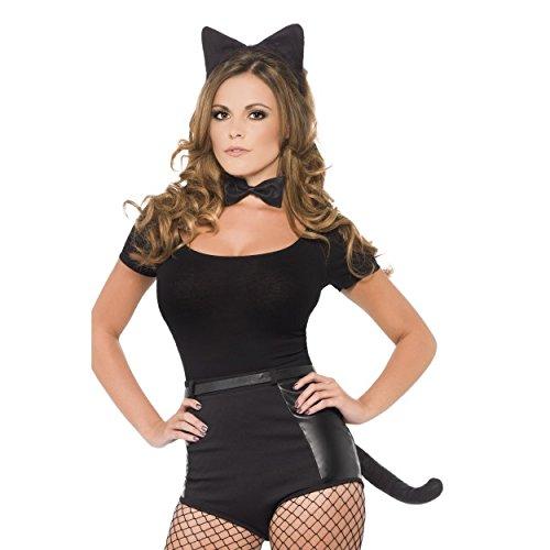 s Damen Herren FANCY DRESS Hen Night Halloween Party Fest in der Nacht, schwarze Katze Ohren, Schwanz und Fliege Set. (Katze Ohren Und Schwanz Kostüm Uk)