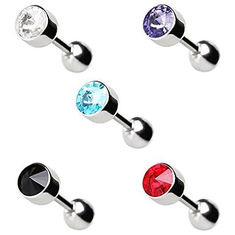 Aqua Lünette facettierte Swarovski Crystal Top 1,2mm x 6mm Chirurgenstahl Tragus Cartilage Ober Ear Ohrring Barbell