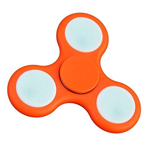 CRASCH.DEALS Fidget Spinner LED | Handspinner | Fingerkreisel | Anti-Stress | Konzentration | Spielzeug | für Erwachsene und Kinder | Trend | Orange