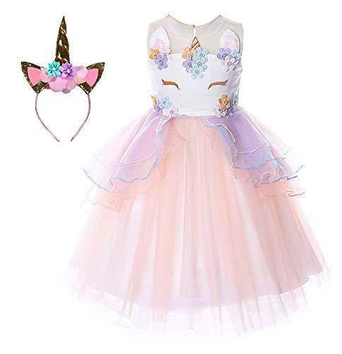 Kostüm Ballerina Mädchen Belle - Le SSara Unicorn Kostüm Kleider Pageant Party Kleider Blumenabende Kleider Tutu Dress (90, E69-beige)
