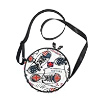 Ahomy Womens Round Crossbody Bag Character US UK Flag Sports Boots Pattern Girls Circle Purse Shoulder Handbag