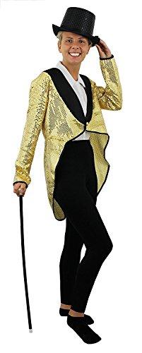 k Damen Herren Cabaret Fancy Dress-Unisex Goldener Pailletten Frack Kostüm ()