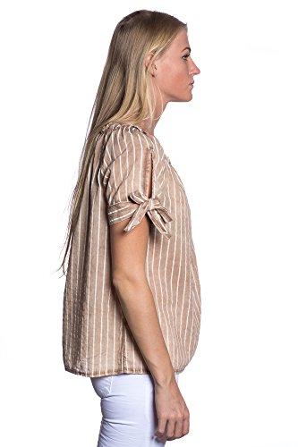 Abbino IG008 Blusen Femmes Filles - Fabriqué en Italie - Plusieurs Couleurs - Transition Printemps Été Automne Tendresse Poids Léger Dynamique Confortable Plaine Elegante Sexy Cotton Marron (Art. 80263)